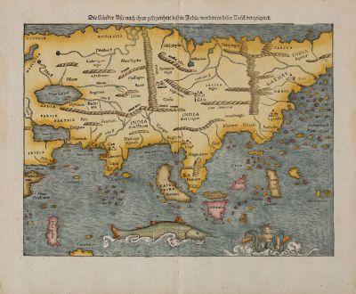 Antike Landkarten, Münster, Asien Kontinent, 1540 (1574): Die Länder Asie nach ihrer gelegenheit bisz in India, werden in diser Tafel verzeichnet