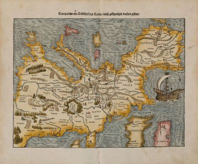 Antike Landkarten, Münster, Europa Kontinent, 1574: Europa das ein Drittheil der Erden, nach gelegenheit unsern zeiten.