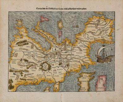 Antique Maps, Münster, Europe Continent, 1574: Europa das ein Drittheil der Erden, nach gelegenheit unsern zeiten.