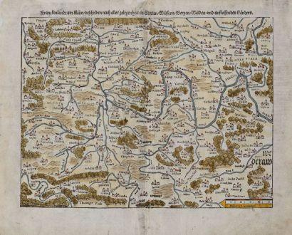Antike Landkarten, Münster, Deutschland, Bayern, Franken, 1545: Franckenland am Main, beschriben nach aller gelegenheit in Stetten, Wassern, Bergen, Walden und anstossenden Landern