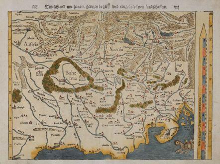 Antike Landkarten, Münster, Deutschland, 1545: Teütschland mit seinem gantzen begriff und eingeschlossnen landschafften