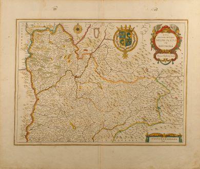 Antike Landkarten, Janssonius, Frankreich, Dauphine, Grenoble, 1650: Nova et accurata descriptio Delphinatus vulgo Dauphiné