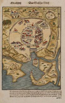 Antike Landkarten, Münster, Nordafrika, Tunesien, Tunis, 1574: [Tunis]