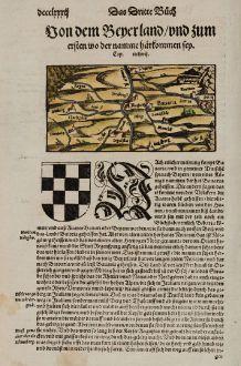 Antike Landkarten, Münster, Deutschland, Bayern, 1574: Von dem Bayerlandt, und zum ersten wo der namme härkommen sey.