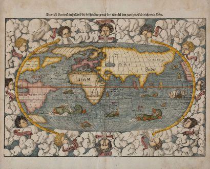 Antike Landkarten, Münster, Weltkarten, 1574: Das erst General, inhaltend die beschreibung und den Circkel des gantzen Erderichs und Möre