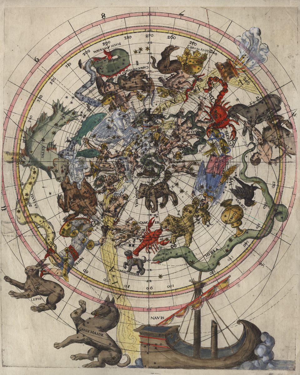 Sternenhimmel Le celestial chart himmelskarte anonymous nördlicher