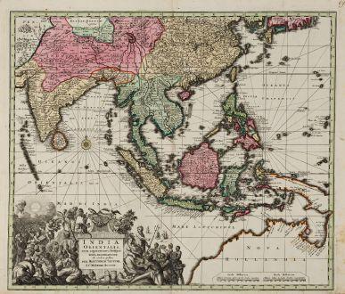 Antike Landkarten, Seutter, Südost Asien, 1730: India Orientalis, cum Adjacentibus Insulis Nova Delineatione ob Oculos Posita