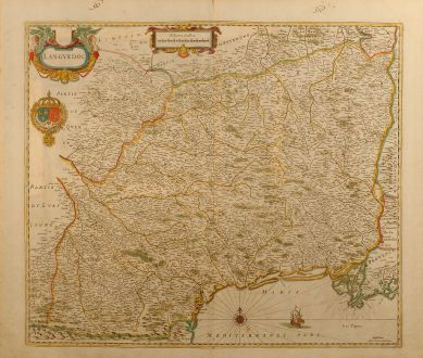 Antique Maps, Janssonius, France, Languedoc, 1650: Languedoc