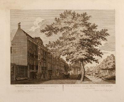 Antike Landkarten, Fouquet, Niederlande, Amsterdam, Brantzen-Rus-Hofje, 1775: Gezicht van het Brantzen-Rus-Hofje