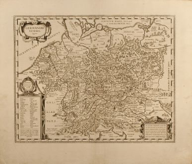 Antique Maps, Blaeu, Germany, 1630: Germaniae Veteris typus