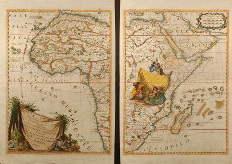 Antike Landkarten, Coronelli, Afrika Kontinent, 1701: L'Africa divisa nelle sue Parti secondo le piu moderne, relationis colle scoperte dell origine e corso del Niro