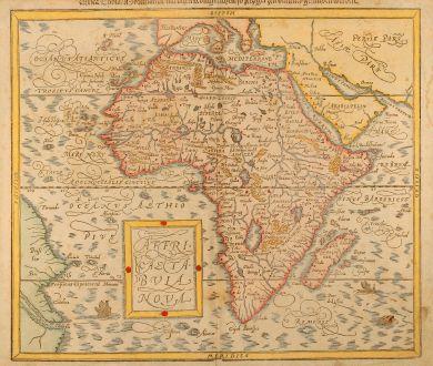 Antike Landkarten, Münster, Afrika Kontinent, 1580: Affricae tabula nova / Africa, Lybia, Morenlandt, mit allen Königreichen so jetziger Zeit darumb gefunden werden