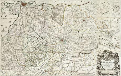 Antique Maps, de Roy, Netherlands, Amsterdam, Utrecht, 1743: Nieuwe kaart van den lande van Utrecht ...doen meten, en in kaart brengen, door Bernard du Roy ...