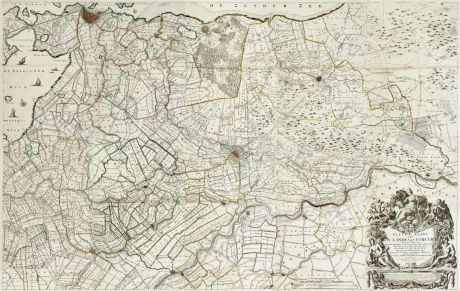 Antike Landkarten, de Roy, Niederlande, Amsterdam, Utrecht, 1743: Nieuwe kaart van den lande van Utrecht ...doen meten, en in kaart brengen, door Bernard du Roy ...