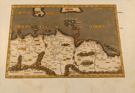 Antike Landkarten, Fries, Mittelmeer, Nordafrika, Malta, Sizilien, 1541: Aphricae tabula secunda continet