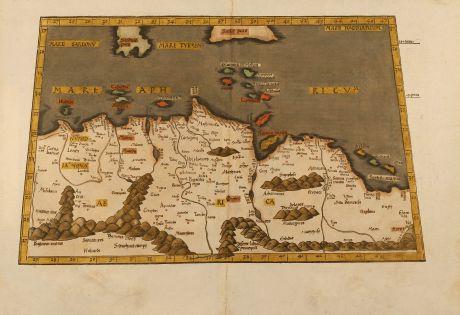 Antike Landkarten, Fries, Nordafrika, Nordafrika, Malta, Sizilien, 1541: Aphricae tabula secunda continet