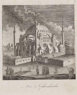 Antique Maps, Schindelmayer, Turkey, Istanbul, Constantinople, Hagia Sophia: Die Sophienkirche