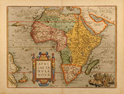 Antike Landkarten, Ortelius, Afrika Kontinent, Afrikanischer Kontinent, 1598: Africae tabula nova