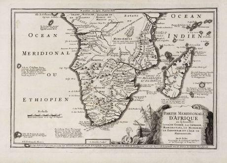 Antike Landkarten, de Fer, Südafrika, 1705: Partie Meridionale d'Afrique ou se Trouvent la Basse Guinee, la Cafrerie, le Monomotapa, le Monoemugi, le Zanguebar et...