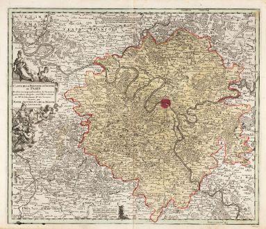 Antike Landkarten, Seutter, Frankreich, Ile-de-France, Paris, 1720: Carte de la prevoste et vicomté de Paris, dressée sur un grand nombre de mémoires particuliers assujettis aux...