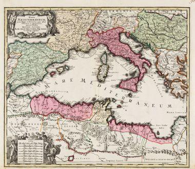Antike Landkarten, Seutter, Mittelmeer, 1730: Mare Mediterraneum, juxta Regna et Provincias, quas Alluit Distinctum et Cognominatum