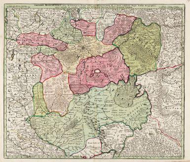Antike Landkarten, Seutter, Russland, Moskau, Moskwa, 1730: Imperii Moscovitici Pars Australis in Lucem Edita par Guillielmum De L'Isle ...