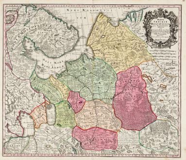 Antike Landkarten, Seutter, Russland, Moskau, Moskwa, 1730: Mappae Imperii Moscovitici Pars Septentrionalis