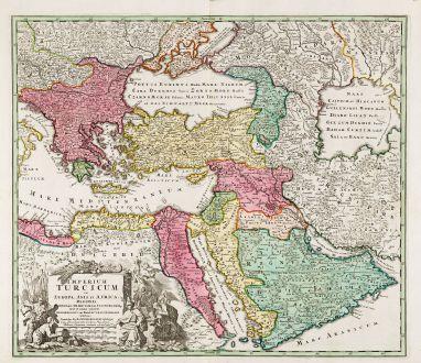 Antike Landkarten, Homann, Türkei, Türkische Reich, 1720: Imperium Turcicum in Europa, Asia et Africa Regiones Proprias, Tributarias, Clientelares ...