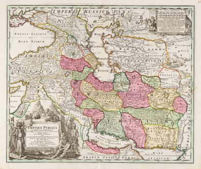 Antique Maps, Homann, Middle East, Persia / Iran / Iraq / Syria / Persian Gulf: Imperii Persici in Omnes suas Provincias