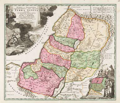 Antike Landkarten, Homann, Heiliges Land, Judäa, Israel, 1720: Iudaea seu Palaestina ob Sacratissima Redemtoris Vestigia Hodie dicta Terra Sancta Prout olim in Duodecim Tribus Divisa...