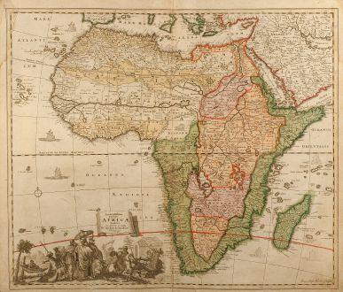 Antike Landkarten, Homann, Afrika Kontinent, 1700: Accuratissima totius Africae Tabula in Lucem producta