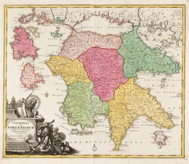 Antique Maps, Homann, Greece, Peloponnese, 1720: Peloponesus hodie Moreae Regnum in Omnes suas Provincias Veteres et Hodiernas Accurate Divisum