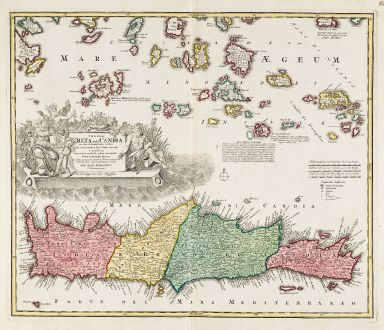 Antique Maps, Homann, Greece, Aegean Sea, Cyclades, Crete, 1720: Insula Creta hodie Candia in sua IV Territoria Divisa ...