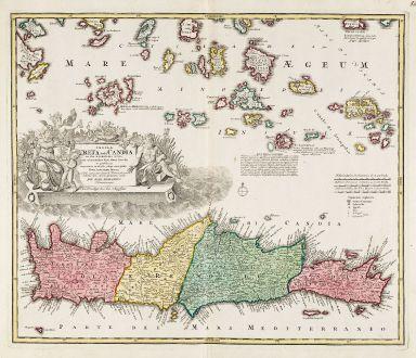 Antike Landkarten, Homann, Griechenland, Ägäis, Kykladen, Kreta, 1720: Insula Creta hodie Candia in sua IV Territoria Divisa ...