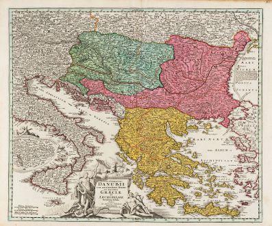 Antike Landkarten, Homann, Griechenland, Donau, 1720: Fluviorum in Europa Principis Danubii cum Adiacentibus Regnis, nec non Totius Graeciae et Archipeliagi Novissima Tabula