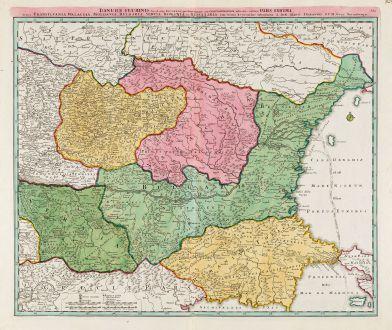 Antique Maps, Homann, Romania - Moldavia, Danube, 1720: Danubii Fluminis (hic ab Urbe Belgrado ...) Pars Infima in qua Transylvania, Walachia, Moldavia, Bulgaria, Servia, Romania...