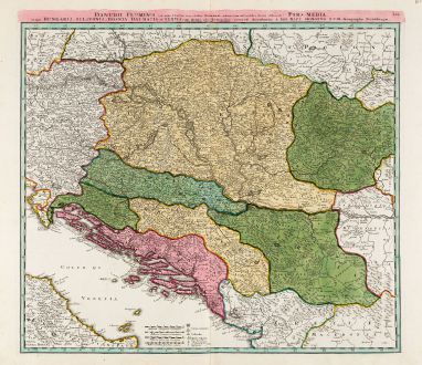 Antique Maps, Homann, Balkan, Danube, 1720: Danubii Fluminis ... Pars Media in qua Hungaria, Sclavonia, Bosnia, Dalmatia et Servia ...