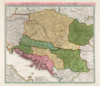 Antike Landkarten, Homann, Balkan, Donau, 1720: Danubii Fluminis ... Pars Media in qua Hungaria, Sclavonia, Bosnia, Dalmatia et Servia ...
