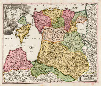 Antike Landkarten, Homann, Baltikum, Lettland und Litauen, Estland, 1720: Ducatuum Livoniae et Curlandiae cum Vicinis Insulis