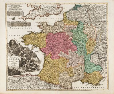 Antike Landkarten, Homann, Frankreich, 1720: Totius Regni Galliae sive Franciae Tabula ...
