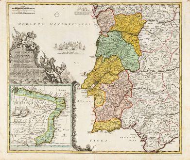 Antique Maps, Homann, Spain - Portugal, Brazil, 1720: Portugalliae et Algarbiae ... [inset Brazil] Regnum Brasiliae in America Australi