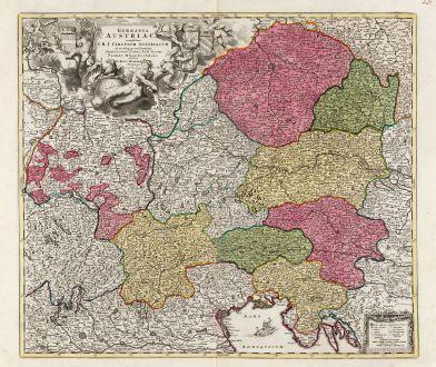 Antike Landkarten, Homann, Österreich - Ungarn, 1720: Germania Austriaca Complectens S.R.I. Circulum Austriacum ut et Reliquas in Germania ...