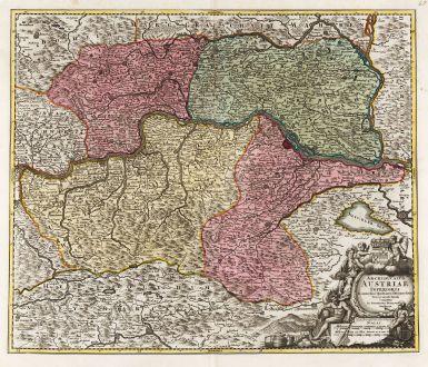 Antike Landkarten, Homann, Österreich - Ungarn, 1720: Archiducatus Austriae Inferioris