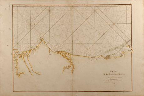Antike Landkarten, Mannevillette, Westafrika, Seekarte, Afrika, Gambia, Senegal, Mauretanien: Carte de la Côte d'Afrique depuis le Cap Blanc jusqu'à la Rivière de Gambie