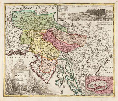 Antike Landkarten, Homann, Balkan, Kroatien, Slowenien, Ljubljana, Laibach, 1720: Tabula Ducatus Carnioliae Vindorum Marchiae et Histriae