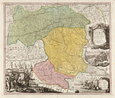 Antike Landkarten, Homann, Österreich - Ungarn, Graz, Steiermark, Kärnten: Ducatus Stiriae Novissima Tabula ...