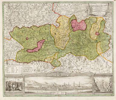 Antike Landkarten, Homann, Österreich - Ungarn, Klagenfurt, Kärnten, 1720: Nova et Accurata Carinthiae Ducatus ...