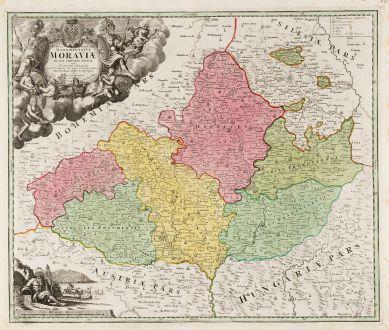 Antike Landkarten, Homann, Tschechien - Böhmen, Mähren, 1720: Tabula Generalis Marchionatus Moraviae in Sex Circulos Divisae ...