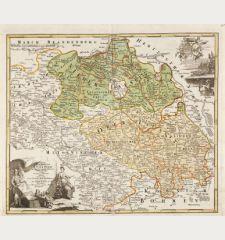 Totius Marchionatus Lusatiae tam superioris quam inferioris tabula specialis in suos Comitatus et Dominatus Distincta.