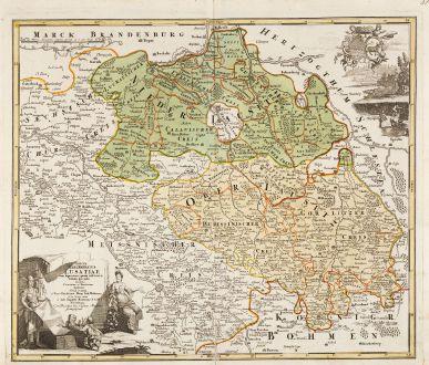 Antike Landkarten, Homann, Deutschland, Lausitz, Brandenburg, Sachsen, 1720: Totius Marchionatus Lusatiae tam superioris quam inferioris tabula specialis in suos Comitatus et Dominatus Distincta.